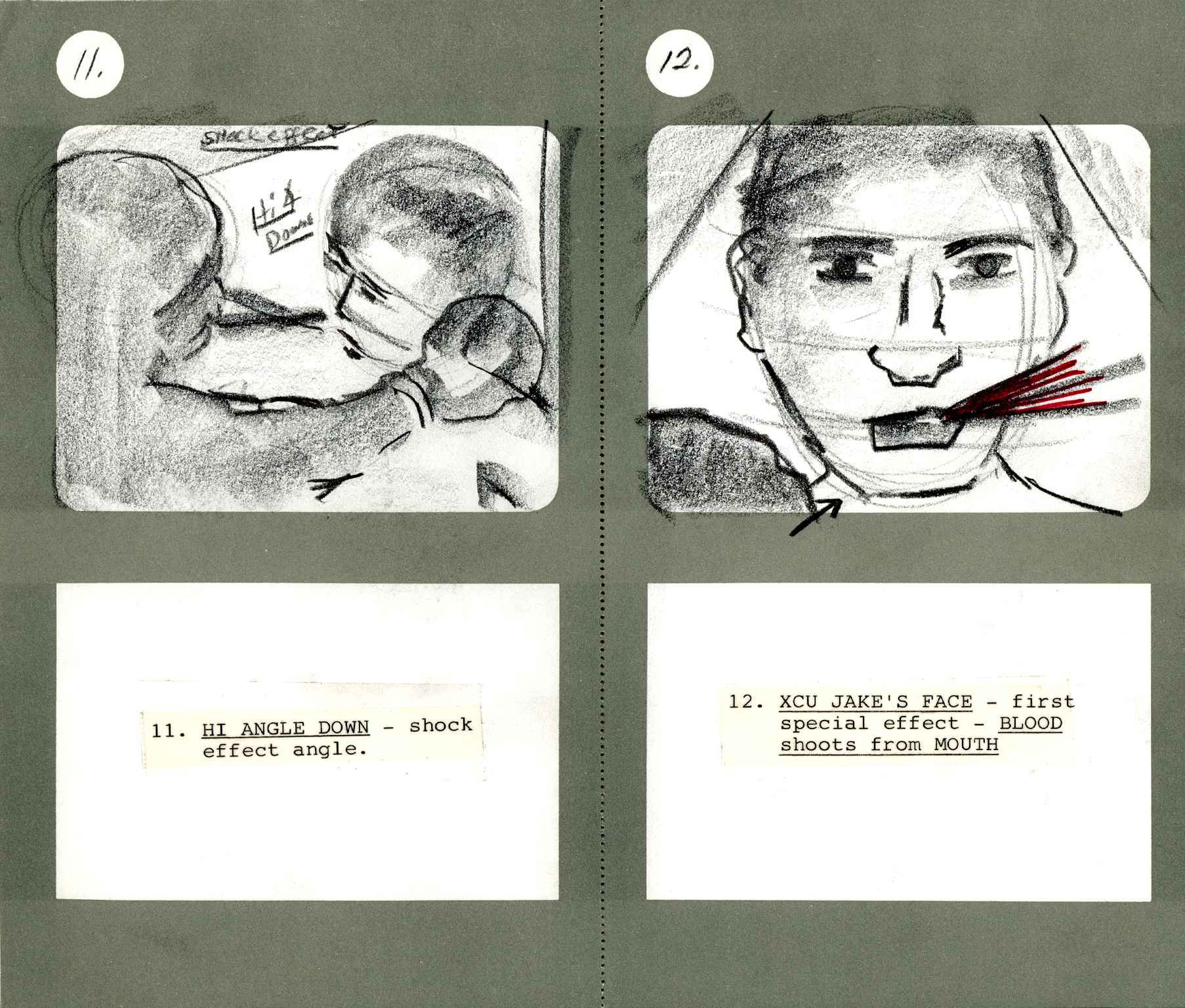 Martin Scorcese storyboards from Raging Bull.