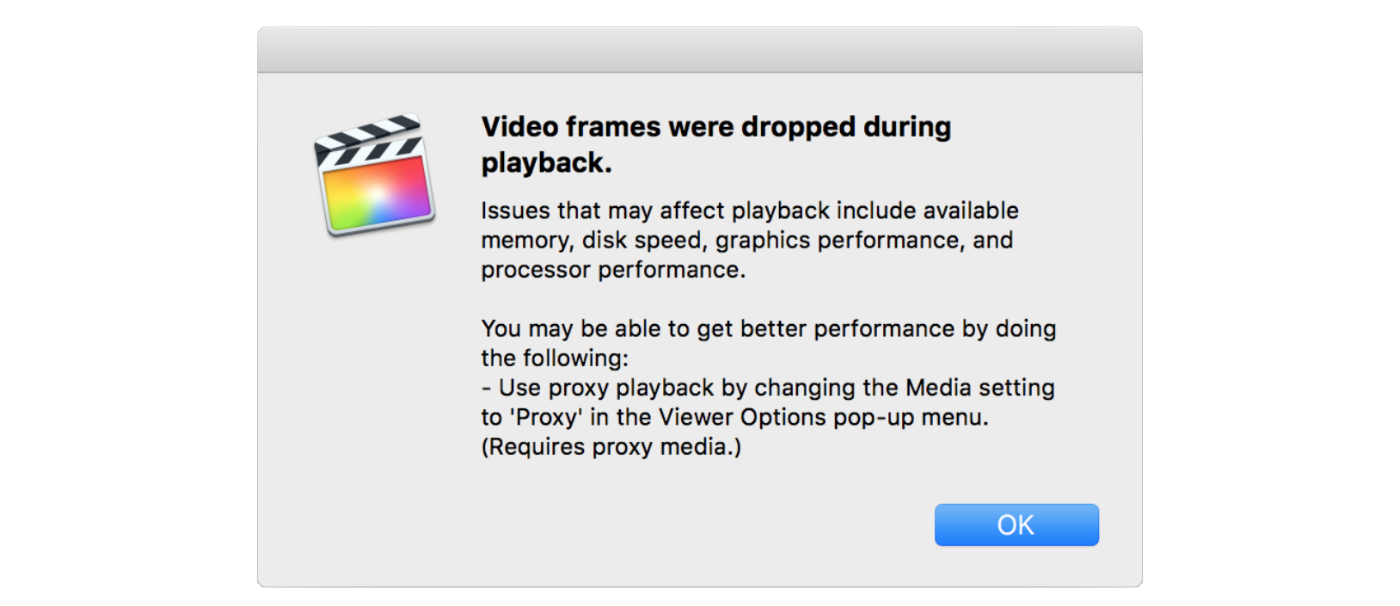 Dropped frames during playback doesn't necessarily mean something is wrong with your system.