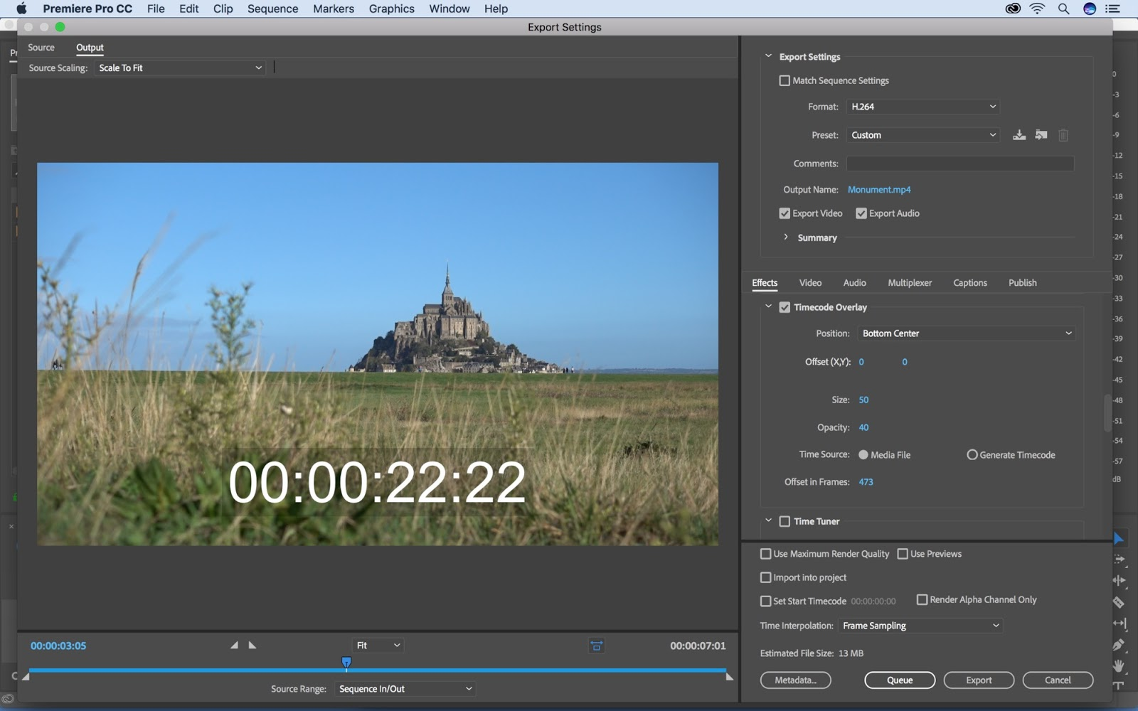 Adding a timecode overlay in Premiere Pro