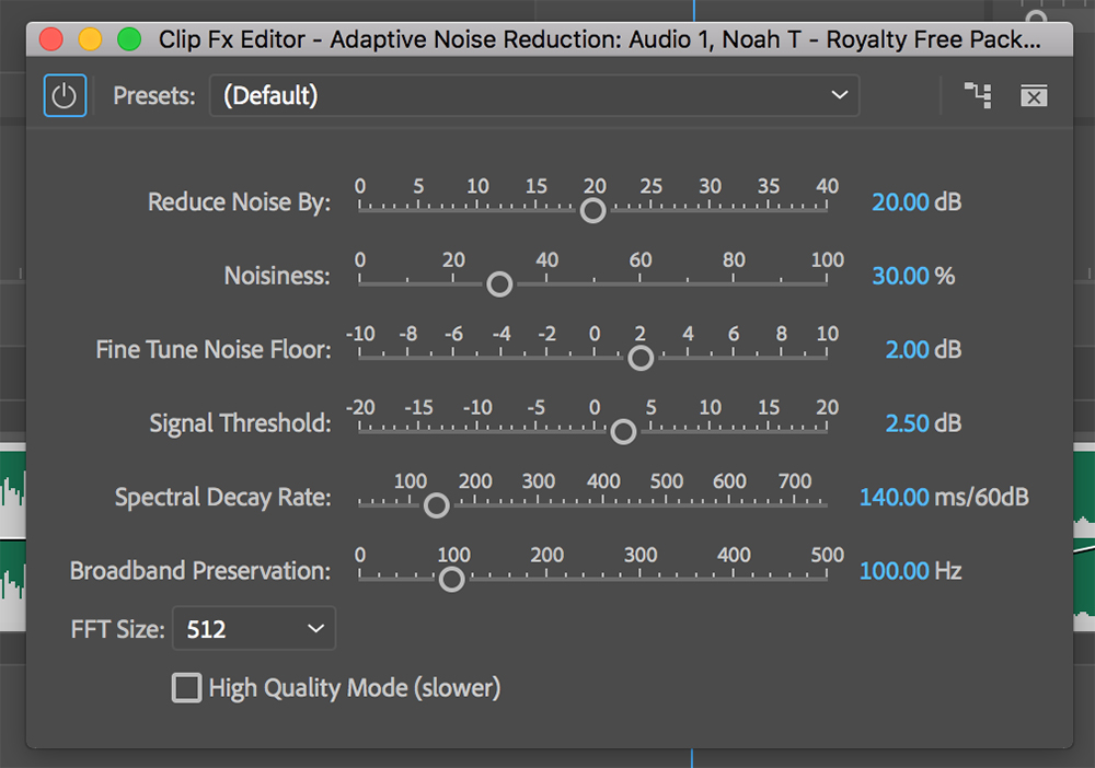 Premiere Pro Audio Tools 08 Adaptive Noise Reduction Effect