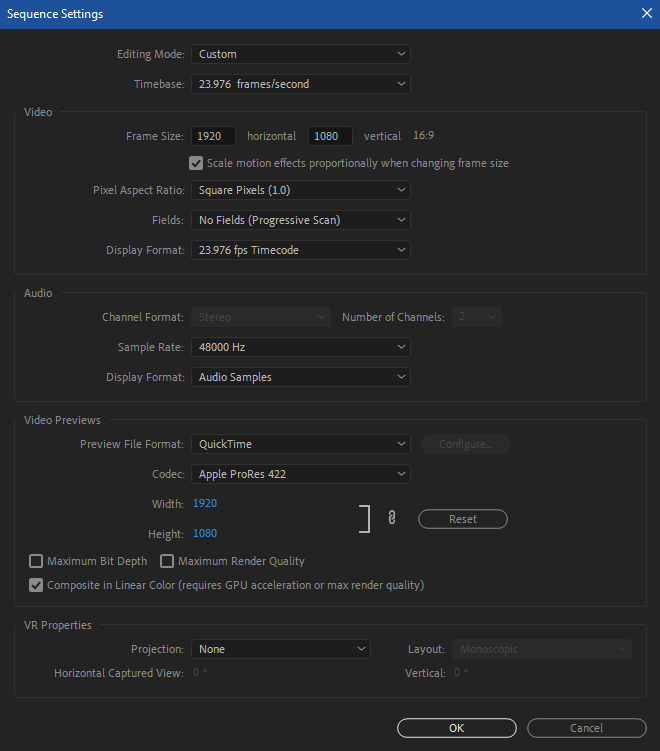 SequenceSettings
