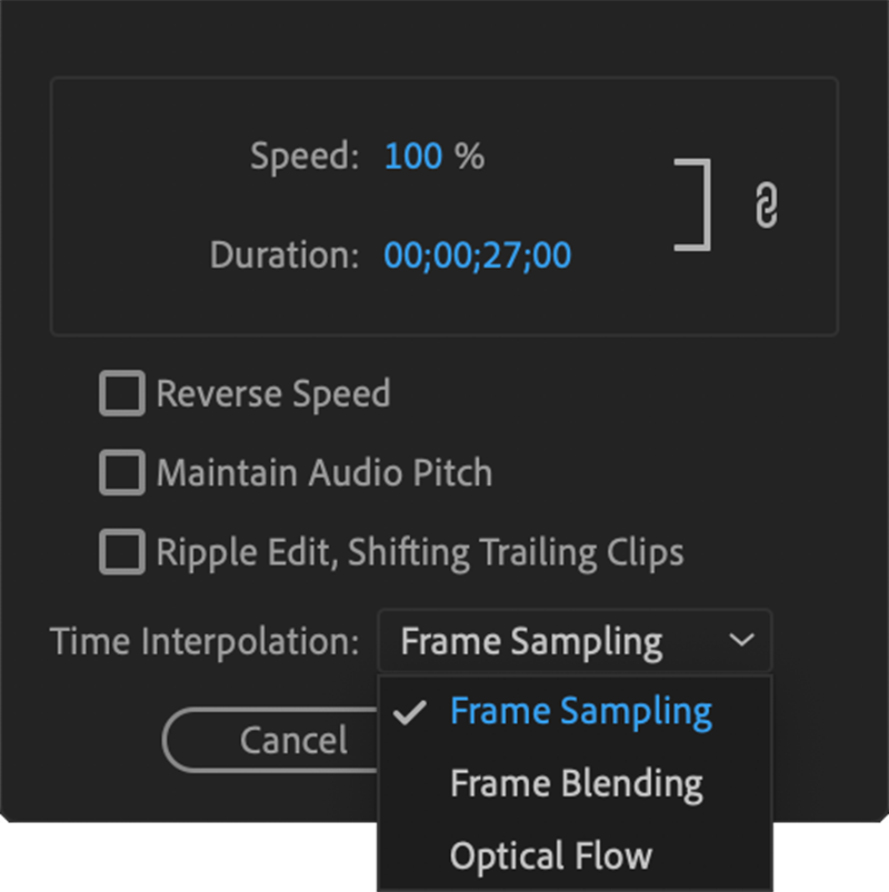 Changing Premiere Pro's interpolation setting to reduce choppy playback