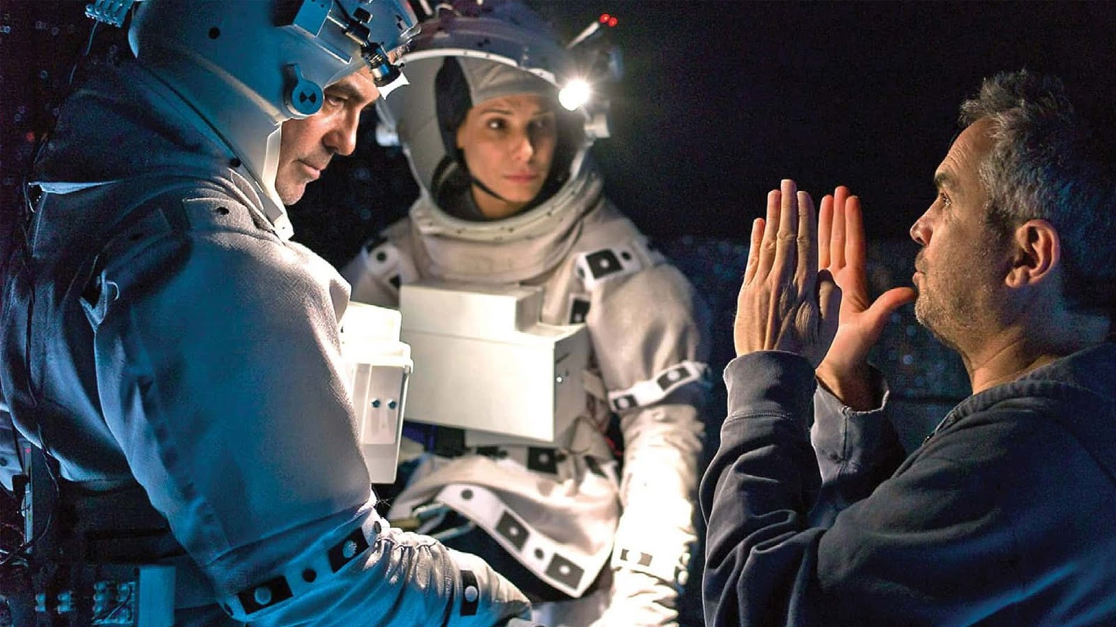 Cuaron, Bullock, and Clooney on set for Gravity